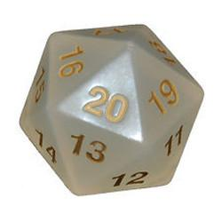 Koplow Games: Super Jumbo 55mm D20 Countdown Die - Translucent Pearl White