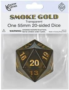 Koplow Games: Super Jumbo 55mm D20 Countdown Die - Translucent Smoke Grey