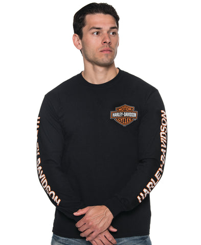 B&S Orange on Black Longsleeve Shirt