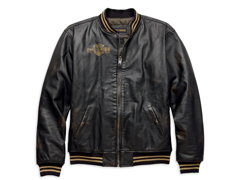Leander Slim Fit Leather Bomber Jacket