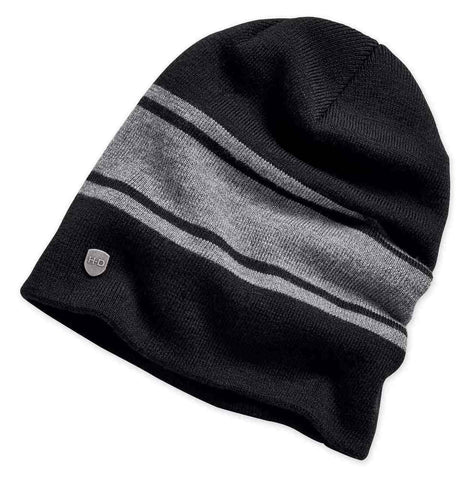 Wool Blend Slouch Knit Black-Grey Beanie