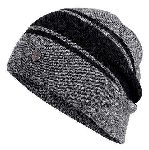 Wool Blend Slouch Knit Grey-Black Beanie