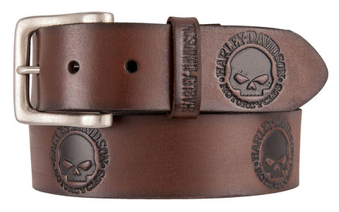 Men's Embossed Willie's World Leather Brown Belt