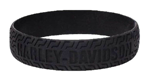 Embossed H-D Tire Track Silicone Wristband, Black