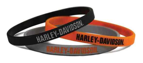 H-D Script Silicone Wristbands, 3 Pack Black/Orange/Gray