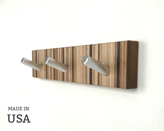 Modern Bathroom Hook, Unique Towel Hook in Striped Wood with Metal Pegs by andrewsreclaimed