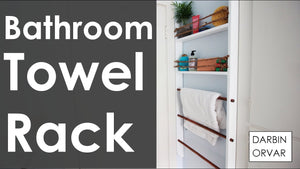 With basic wood I made a towel rack and bathroom shelf for a very small corner of the room