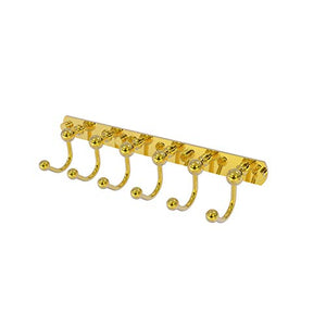 Allied Brass P1020-6 Prestige Skyline Collection 6 Position Tie and Belt Rack Decorative Hook, Polished Brass