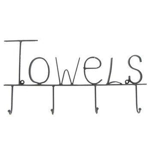 """ABC Products"" - Vintage Heavy Metal - Towel Hook Holder - With The Word ""Towels"" Across The Top - Wall Mount - 4 Looped Ball Hooks - (Flat Black Finish - Use Anywhere)"