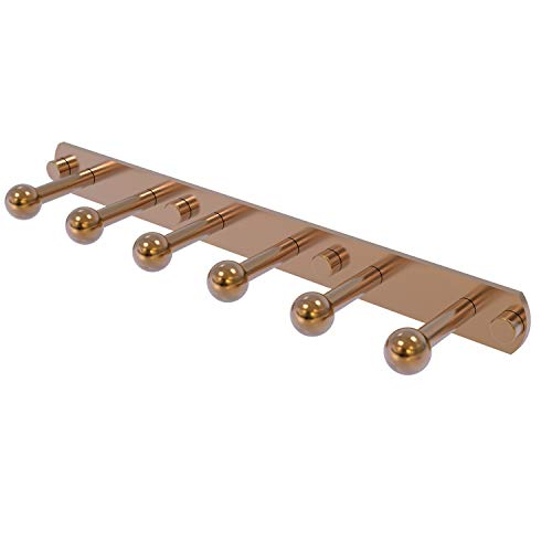 Allied Brass P1000-20-6 Prestige Skyline Collection 6 Position Tie and Belt Rack Decorative Hook, Brushed Bronze