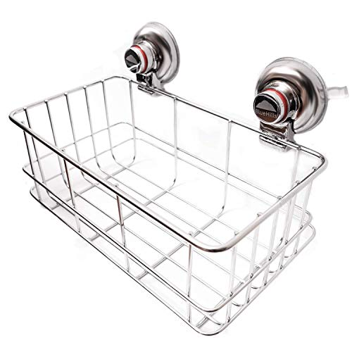 BlueHills Super Strong Premium Rust Proof Stainless-Steel Metal Suction Cups for Bathroom Deep Large Basket Caddy, Soap Shampoo Makeup Spice - Kitchen and Shower Organizer, Caddy C003