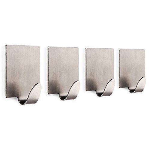 Adhesive Hooks,3M Self Adhesive Bathroom Hooks Coat Robe Rack Kitchen Hooks for Utensils Towels Wall Mount,for Jewelry Organizing, Hat Hooks, Coat Hook Brushed Stainless Steel - 4 Pack
