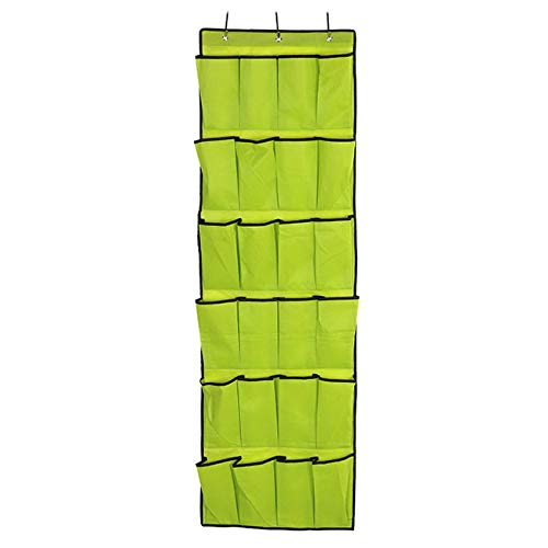 CozyCabin Over the Door Shoe Organizer - 24 Breathable Pockets, Closet Wall Hanging Shoe Storage with 3 Hooks (Green)