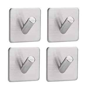 Adhesive Hooks, Stainless Steel Waterproof Heavy Duty Ultra Strong Self Adhesive Bathroom Towel Stick Wall Hook for Jewelry Organizing Hat Coat Home Kitchen Keys Bags Hook (4 pack single hook)