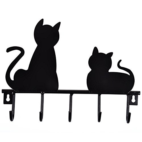 Bluecell Black Cats Solid Metal Wall Mounted 5-hooks Storage Rack / Key Hook/ Holder