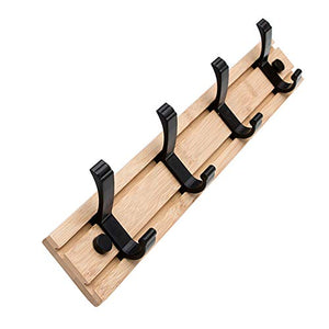 100% Natural Bamboo Coat Rack, Wall-Mounted Heavy Duty Movable Coat Hooks, Towel Bag Key Holder Hanger Hook Rack for Entryway Bedroom Bathroom (4 Hooks)