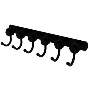 Allied Brass 920D-6 Mercury Collection 6 Position Tie and Belt Rack with Dotted Accent Decorative Hook, Matte Black