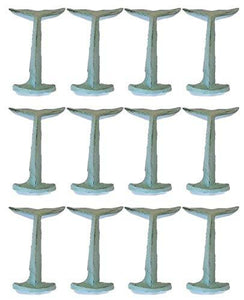 12 Cast Iron Nautical Whale/Dolphin Tail Coat Hat Towel Hooks