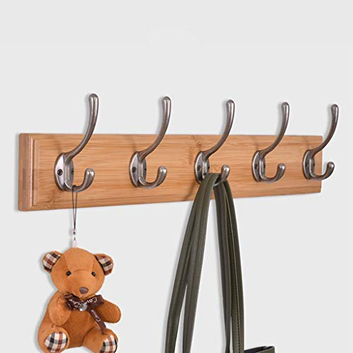 Coat Hooks Wall Mounted, Light Walunt Coat Racks and Bamboo Storage Organization Hooks for Living Room