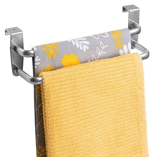 Binovery Metal Modern Kitchen Over Cabinet Double Towel Bar Rack - Hang on Inside or Outside of Doors, Storage and Organization for Hand, Dish, Tea Towels