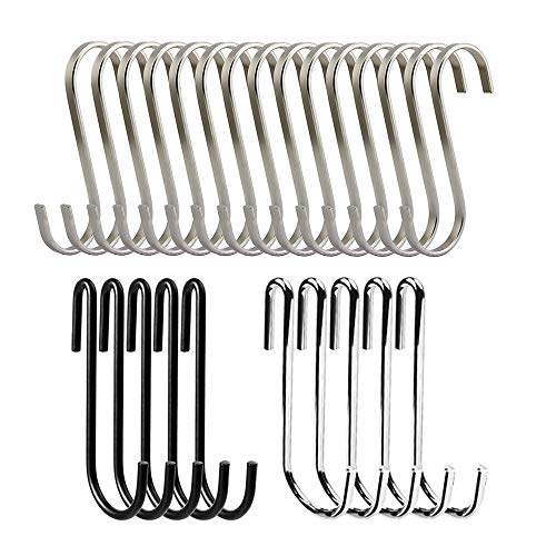 AFUNTA 25 Pcs S Shaped Hooks for Kitchen, Bathroom, Bedroom and Office, Heavy Duty Metal Hanger Organizer Utility Hooks with 2 Types- Black, Silver