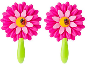 Vigar Flower Power Hook with Suction, 4-3/4-Inches Long, 2-Pack, Pink