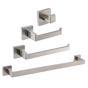TURS Contemporary 4-Piece Bathroom Hardware Set Towel Hook Towel Bar Toilet Paper Holder Tower Holder, SUS 304 Stainless Steel Wall Mounted, Brushed