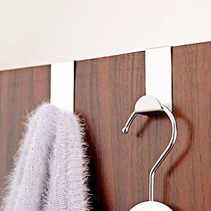 4Pcs Stainless Steel Over Door Hook Clothes Bag Towel Hanger Holder Pothook Home Kitchen Bathroom Supplies^