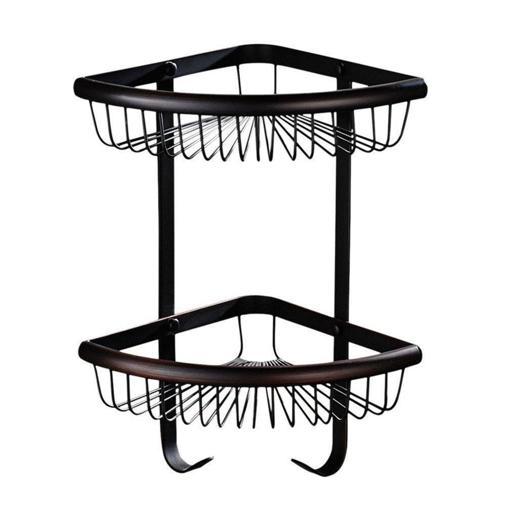 Weirun Bathroom Brass 2-Tier Corner Shelf Basket with Towel Hook Bath Shower Caddy Storage Organizer Holder Rack Heavy Duty Wall Mounted,Oil Rubbed Bronze