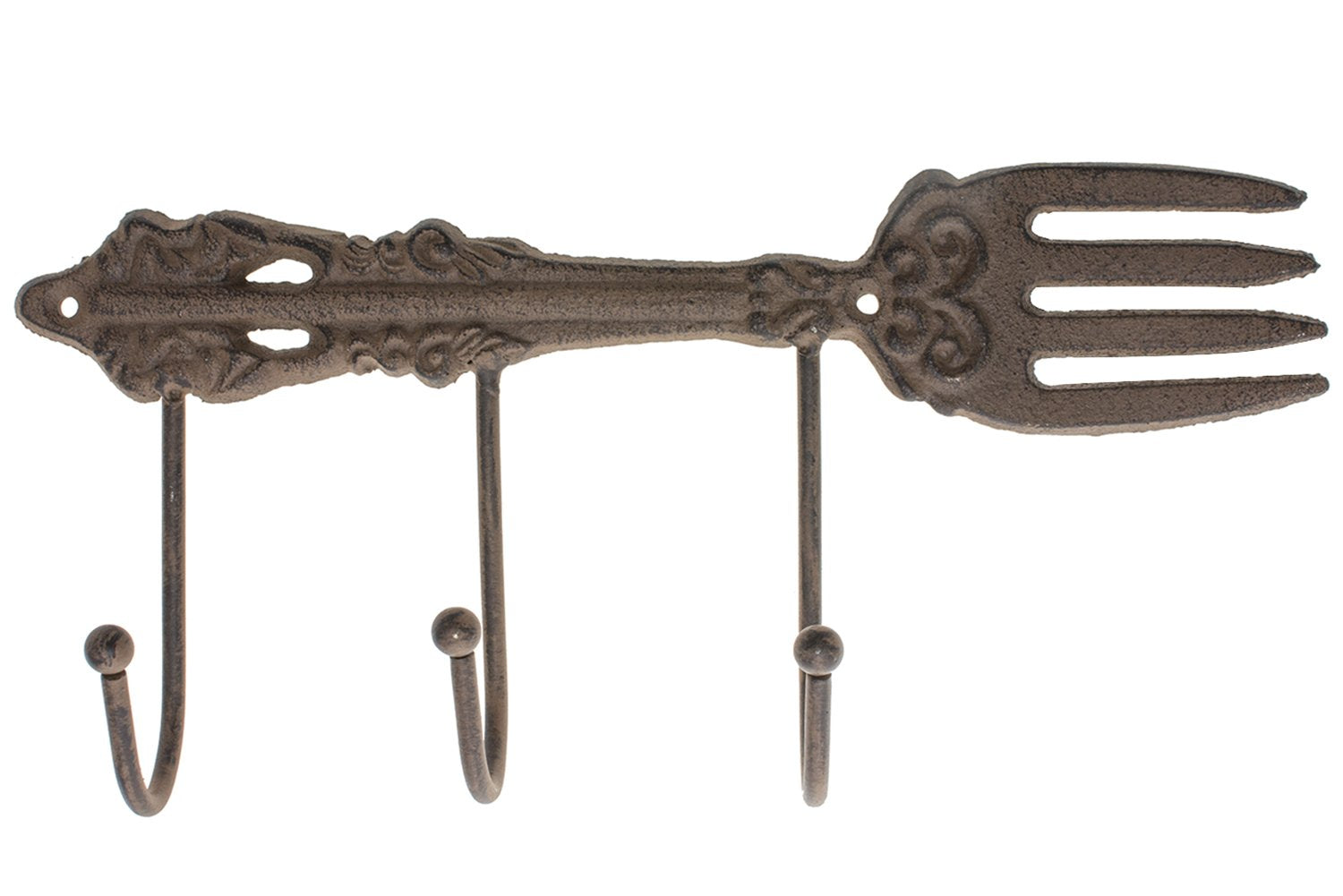 "Cast Iron Wall Hanger For Kitchen | Vintage Fork With 3 Hooks | Decorative Cast Iron Kitchen Storage Towel Rack | 11.2 x 4.9""- With Screws And Anchors By Comfify -CA-1504-17-BR"