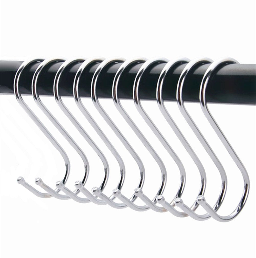 "10 Pack Stainless Steel S-Shaped Hooks - 2.64"" Utility Heavy Duty Polished Metal Hanging Hooks Pots Pans Hanger Hooks for Kitchen Work Shop Bathroom Bedroom Garden"