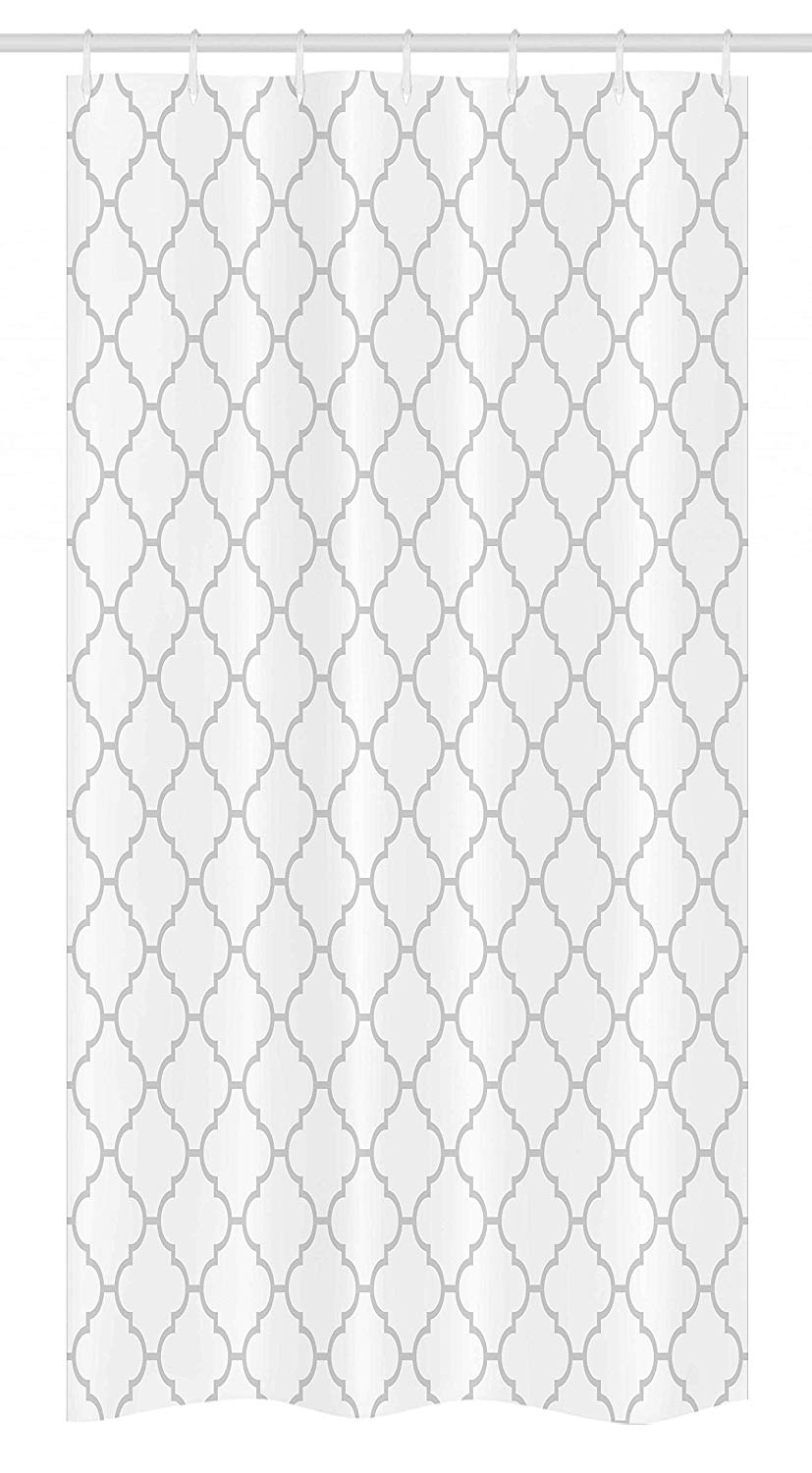 Ambesonne Grey Stall Shower Curtain, Simple Monochrome Patterns Geometric Linked Forms on Plain Background Modern Figures, Fabric Bathroom Decor Set with Hooks, 36 W x 72 L Inches, White Gray