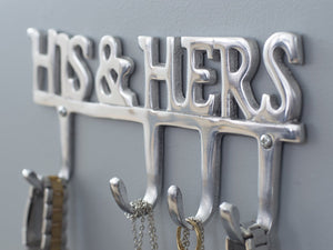 "Contemporary ""His & Hers"" Wall Mounted Clothes Hanger by Comfify - Hand-Cast Aluminum Decorative Coat Hook Rack, Hat Hooks, Wall Key Rack - Includes Screws, Anchors"