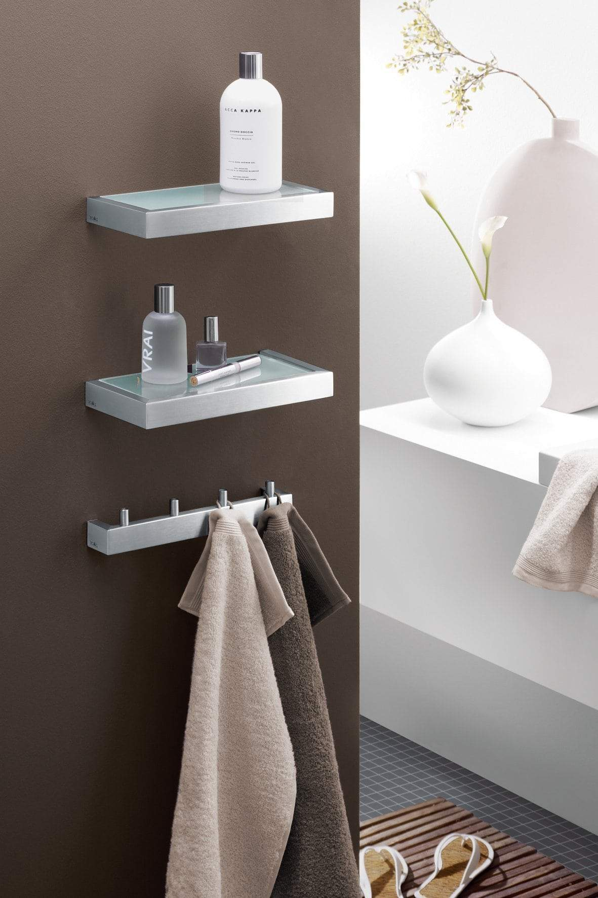 Zack 40389 Linea Wall Mounted Towel Hook Rail for 4 Towels