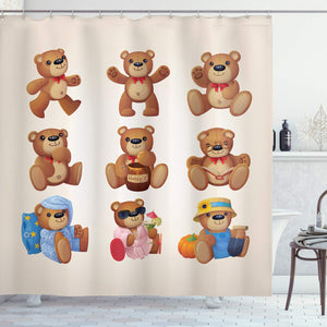 "Ambesonne Cartoon Shower Curtain, Happy Toy Teddy Bears with Funny Different Faces Nostalgic Kids Design, Cloth Fabric Bathroom Decor Set with Hooks, 70"" Long, Chocolate Cream"
