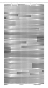 "Ambesonne Modern Stall Shower Curtain, Futuristic Striped Web Forms Artistic Contemporary Graphic Fusion Artwork Print, Fabric Bathroom Decor Set with Hooks, 36"" X 72"", Silver Grey"