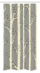 "Ambesonne Grey Stall Shower Curtain, Birch Tree Branches Vintage Bohemian Contemporary Illustration of Nature, Fabric Bathroom Decor Set with Hooks, 36"" X 72"", Warm Taupe"
