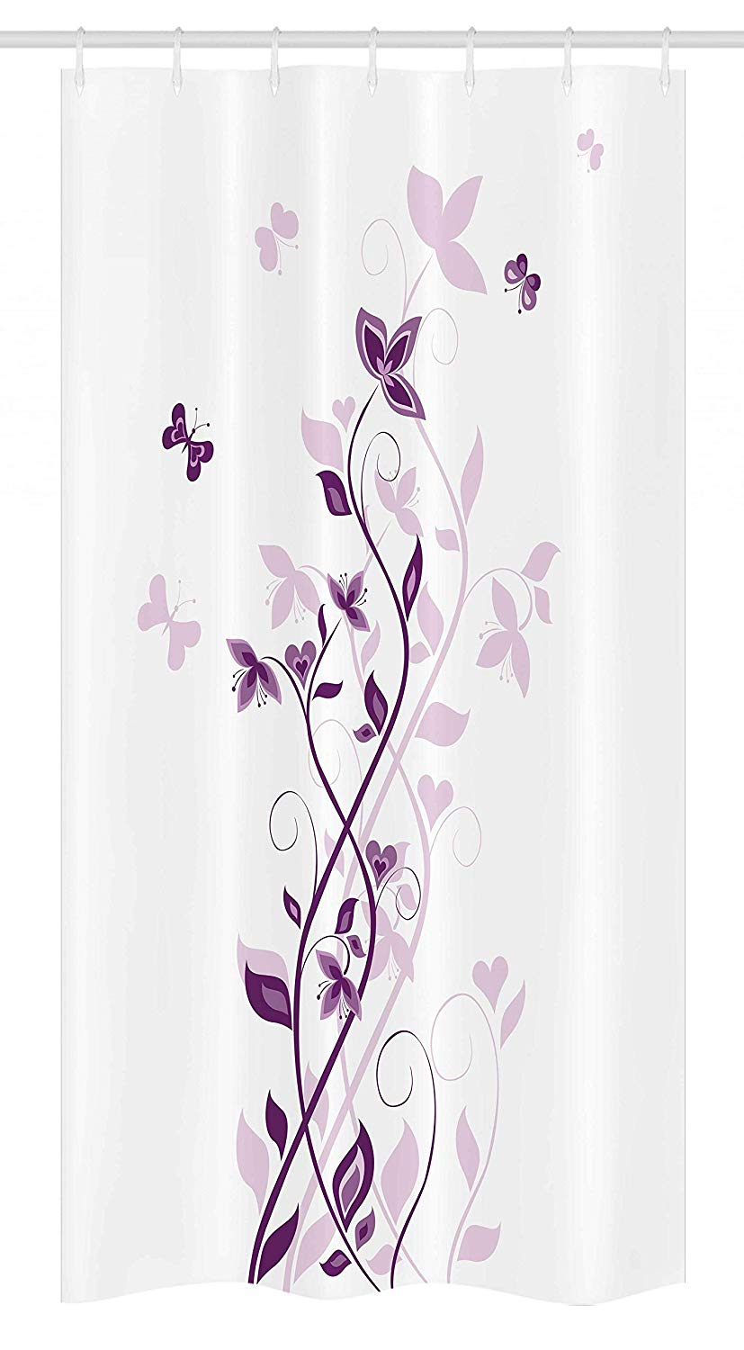 "Ambesonne Purple Stall Shower Curtain, Violet Tree Swirling Persian Lilac Blooms with Butterfly Ornamental Plant Graphic, Fabric Bathroom Decor Set with Hooks, 36"" X 72"", Purple White"