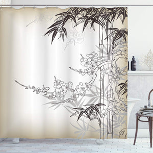 Ambesonne Japanese Bamboo Decor Collection, Abstract Tree and Bamboo Pattern Floral Leaf Design, Polyester Fabric Bathroom Shower Curtain Set with Hooks, Ecru Dark Olive
