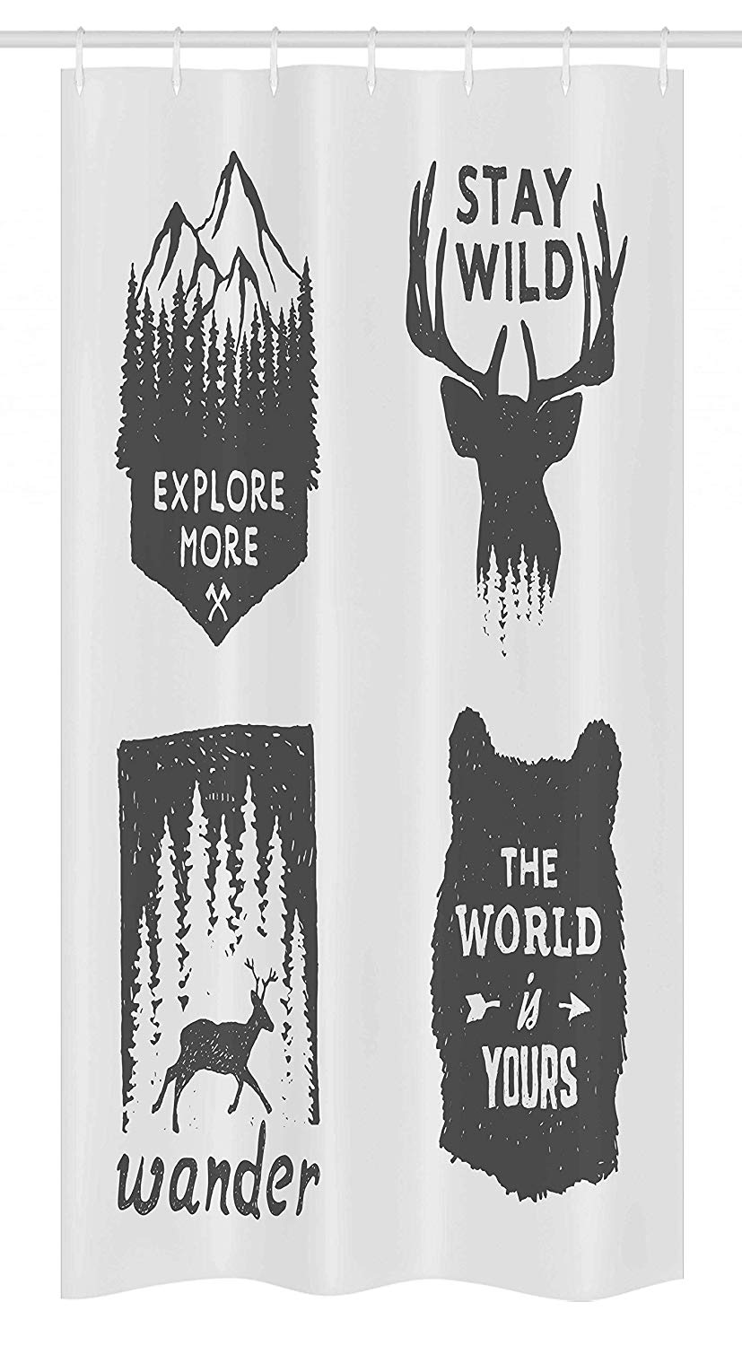 "Ambesonne Saying Stall Shower Curtain, Wilderness Emblems Stay Wild Wander The World is Your Arrow Pine Wildlife Animals, Fabric Bathroom Decor Set with Hooks, 36"" X 72"", Grey"