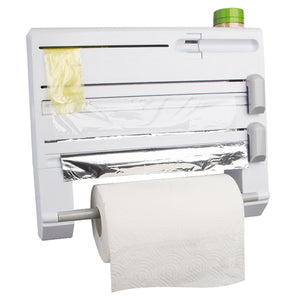 ConsWin 6-in-1 Wall-Mounted Paper Towel Holder,Plastic Wrap and Tin Foil Dispenser with Spice Rack (White)