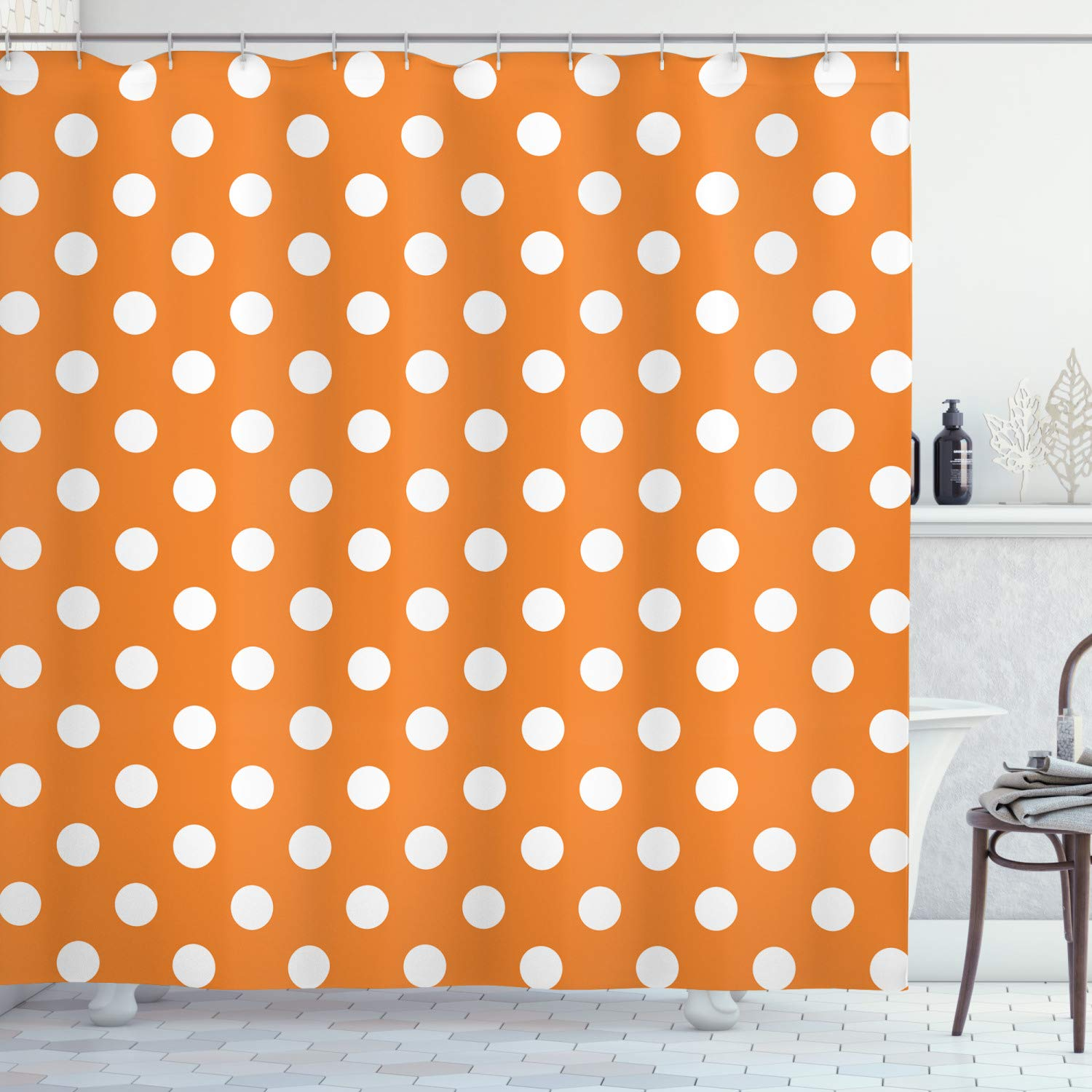 Ambesonne Polka Dots Home Decor Collection, Classic Old-Fashioned Polka Dots Continuous in Spacing and Shape 20's Design, Polyester Fabric Bathroom Shower Curtain Set with Hooks, Orange White