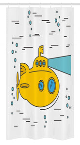 "Ambesonne Yellow Submarine Stall Shower Curtain, Ocean Nautical Adventure Underwater Bubbles Porthole Cartoon Kids, Fabric Bathroom Decor Set with Hooks, 36"" X 72"", White Yellow"