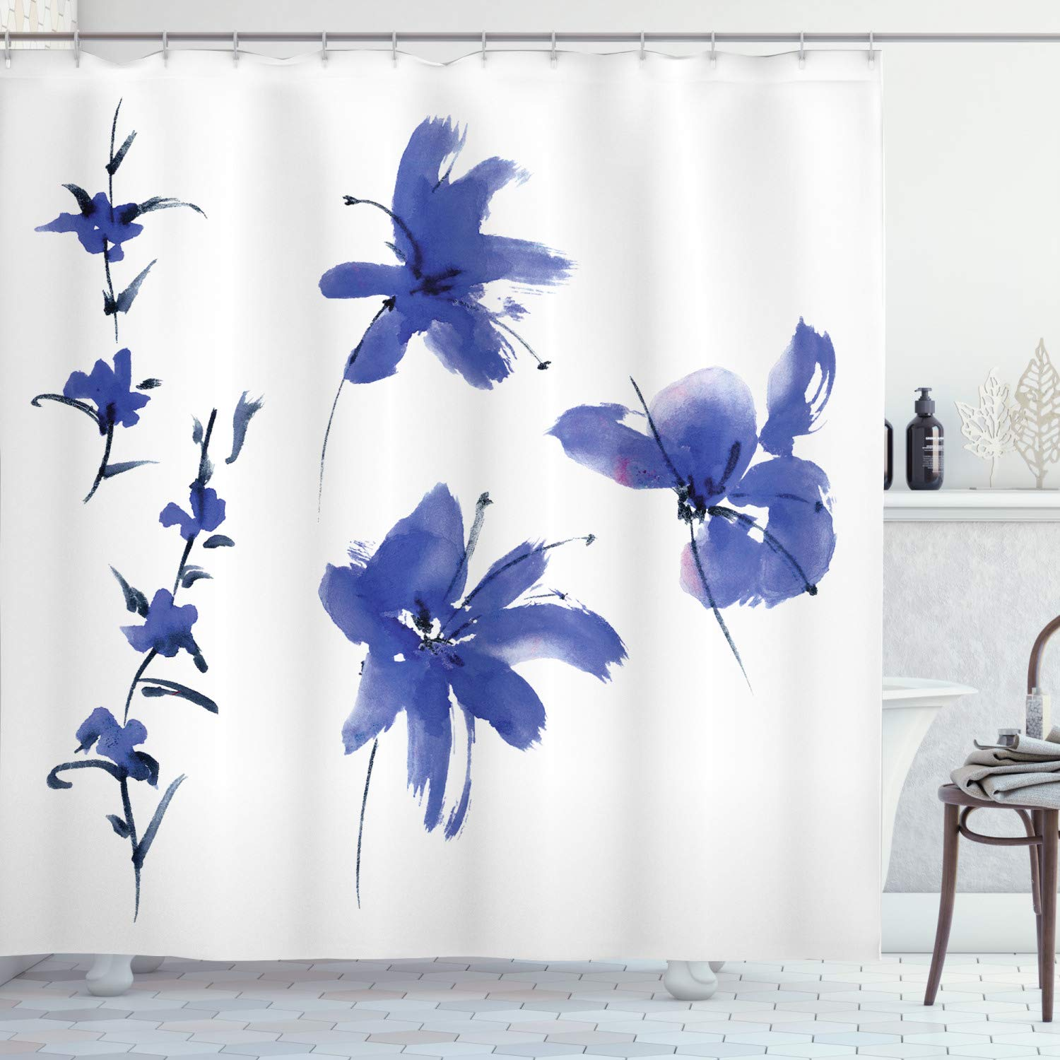 "Ambesonne Traditional Shower Curtain, Oriental Watercolor Inspired Plum Blossom Petals Eastern Artwork Print, Cloth Fabric Bathroom Decor Set with Hooks, 75"" Long, Dark Violet"
