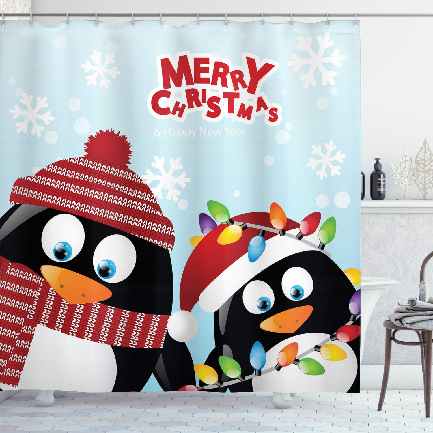 Ambesonne Christmas Decorations Collection, Cute Penguins Wishing Happy Christmas Snowflake Background Arctic Animals Print, Polyester Fabric Bathroom Shower Curtain Set with Hooks, Multi