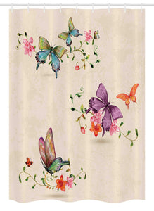 "Ambesonne Butterfly Stall Shower Curtain, Butterfly Pattern on Vintage Style Background Wings Moth Transformation, Fabric Bathroom Decor Set with Hooks, 54"" X 78"", Cream Pink"