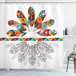 Ambesonne Tribal Shower Curtain by, Colorful Native American Historical Aztec Feathers Boho Kitsch Folk Abstract Design, Fabric Bathroom Decor Set with Hooks, 70 Inches, Multicolor