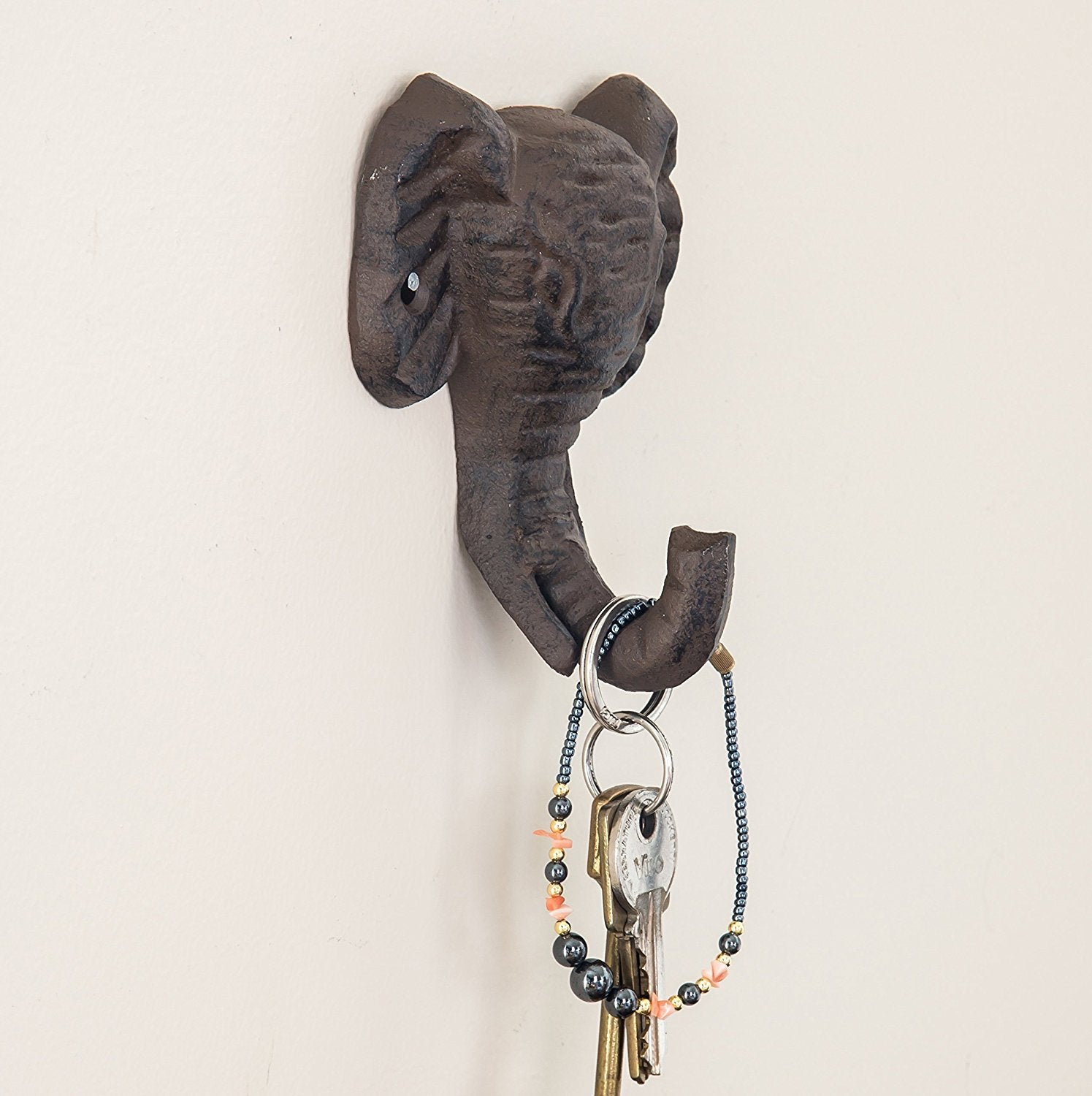 Cast Iron Elephant Single Wall Hook / Hanger | Decorative Wall Mounted Coat Hook | Rustic Cast Iron | 3.7x2.2x4.7"