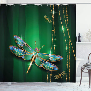 Ambesonne Dragonfly Shower Curtain, Vivid Figures in Gemstone Crystal Diamond Shapes Graphic Artsy Effects, Fabric Bathroom Decor Set with Hooks, 84 inches Extra Long, Hunter Green