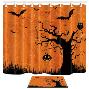 ChuaMi Halloween Party Shower Curtain Set, Bat and Pumpkin on Ghost Tree, Orange Halloween Theme, Waterproof Polyester Fabric Bathroom 69 x 70 Inches with Hooks and Anti-Slip 40 x 60cm Bath Mat
